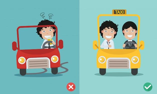 Errado e certo para não beber e dirigir
