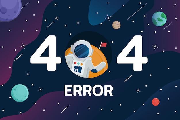 Erro 404 com astronauta e planeta no fundo do espaço