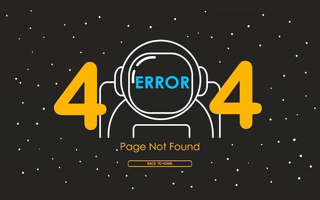 Erro 404 com linha de astronauta no fundo da galáxia