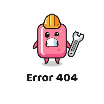 Erro 404 com o mascote de chiclete fofo, design de estilo fofo para camiseta, adesivo, elemento de logotipo