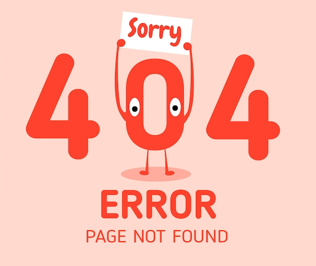 Erro 404 com o modelo de design de erro zero de caractere para o site