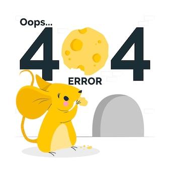 Erro 404 com uma ilustração de conceito de animal fofo