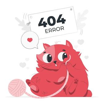 Erro 404 com uma ilustração do conceito de animal fofo
