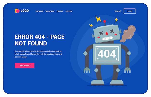 Erro 404 do site com um robô quebrado.