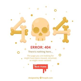 Erro 404 modelo web com ossos e crânio em estilo plano