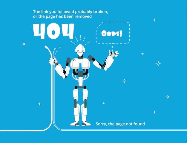 Erro 404. página do site não encontrada com ilustração da mensagem de aviso