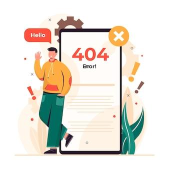 Erro 404, página não encontrada, ilustração do projeto conceitual sem conexão com a internet