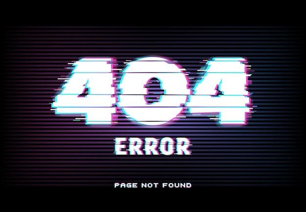 Erro 404, página não encontrada no estilo de efeito de falha com linhas horizontais distorcidas e tipografia brilhante de néon em fundo escuro. site em manutenção, conexão com a internet perdida