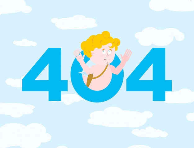 Erro 404, página não encontrada para o site com cupido