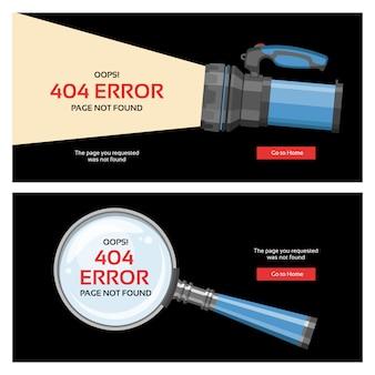 Erro 404 página problema na internet mensagem de aviso na web página da web não encontrada ilustração conjunto de site incorreto falha pano de fundo alerta site está quebrado informações lupa flash-light background