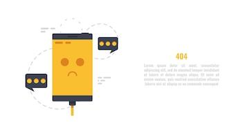 Erro 404, telefone móvel triste, página não encontrada