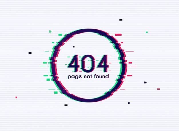 Erro com efeito de falha na tela. erro 404 - página não encontrada.