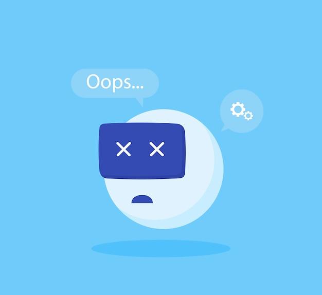 Erro de chatbot de conceito. ilustração em vetor moderno estilo simples