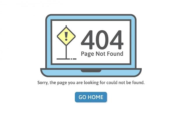 Erro de conceito 404 no estilo de linha. erro de página não encontrada no laptop azul.