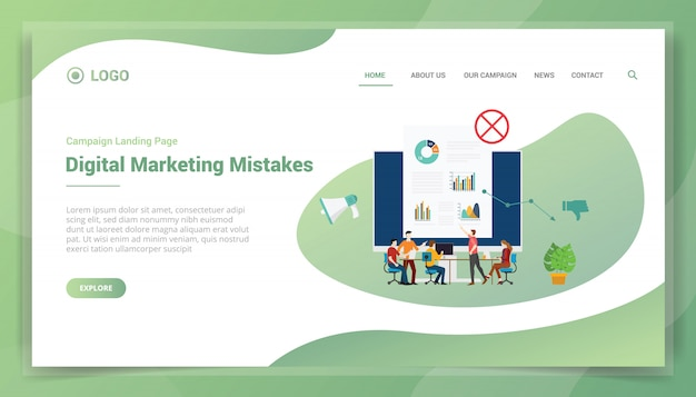 Erro de marketing comercial para o modelo de site ou a página inicial de destino