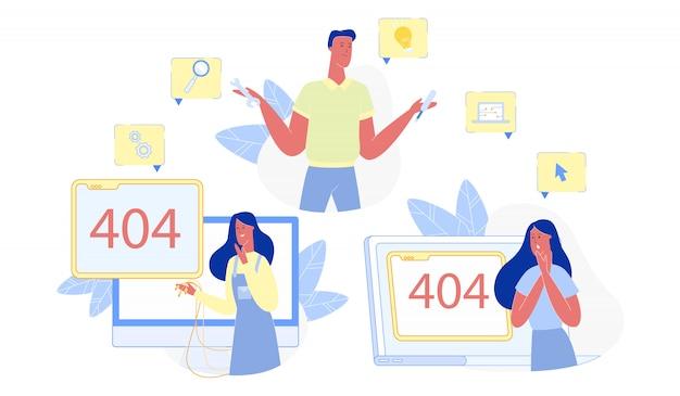 Erro de reparação homem com conexão com a internet, erro 404