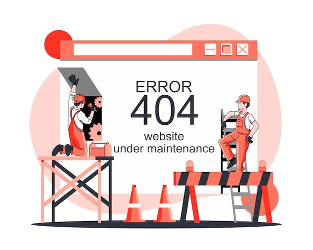 Erro de site sob conceito de manutenção