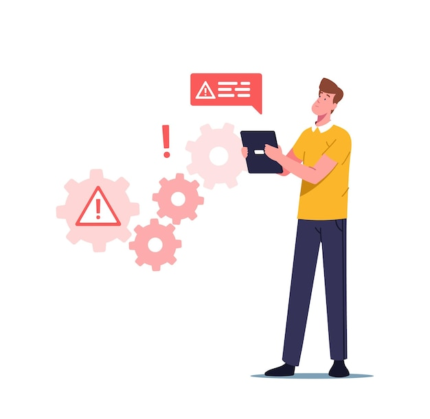Erro de trabalho do sistema, site em construção, ilustração de manutenção da página 404