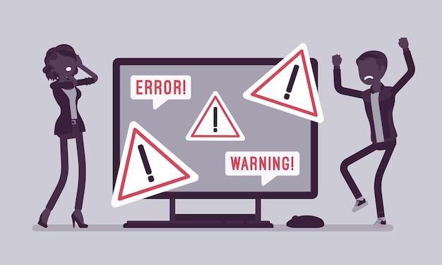 Erro do pc, avisos para usuários. clientes do sexo masculino e feminino zangados perto do monitor indicando perigo potencial, símbolo de atenção, informações sobre alertas do dispositivo sobre o problema. ilustração vetorial, personagens sem rosto