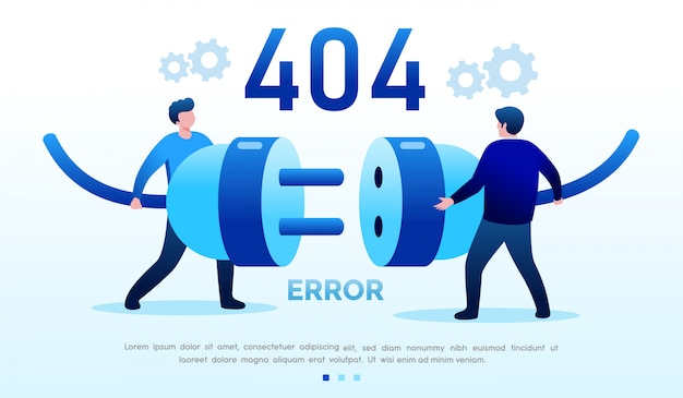 Erro na página inicial do site ilustração plana modelo