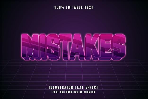 Erros, efeito de texto editável em 3d gradação de rosa roxo estilo de efeito futurista