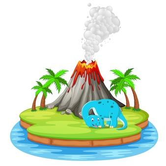 Erupção de dinossauro e vulcão