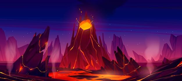Erupção de vulcão com fluxo de magma fumegante para baixo