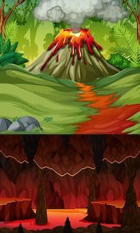 Erupção de vulcão em cena de floresta e caverna infernal com cena de lava