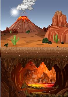 Erupção de vulcão em cena de floresta natural durante o dia e caverna infernal com cena de lava