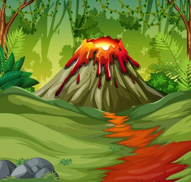 Erupção de vulcão em cena de floresta natural durante o dia