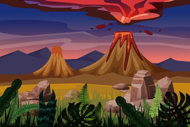 Erupção de vulcão, planície de paisagem de fundo, vegetação, pedras