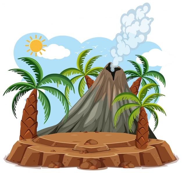 Erupção do vulcão definir estilo cartoon, isolado no fundo branco