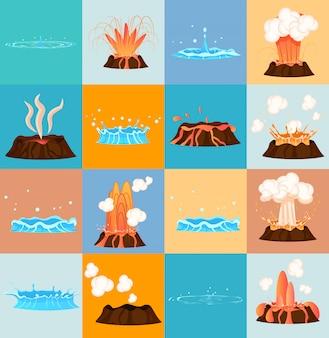 Erupção do vulcão e descarga de água por gêiser