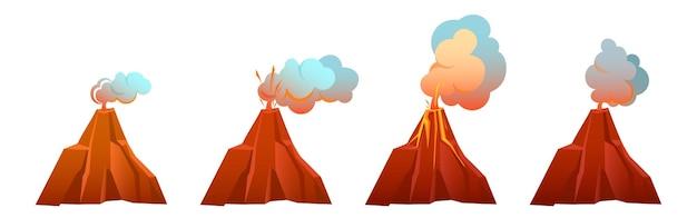 Erupção vulcânica em diferentes estágios