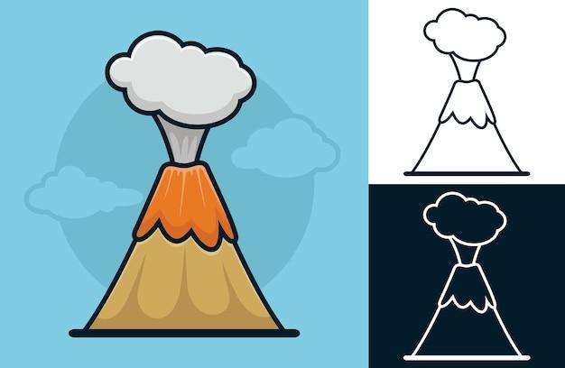 Erupção vulcânica. ilustração de desenho vetorial no estilo de ícone plano