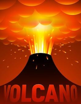 Erupção vulcânica. ilustração dos desenhos animados