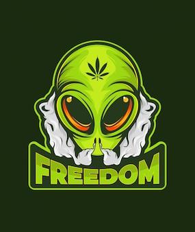 Erva alienígena e texto de liberdade