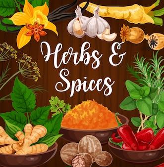 Ervas aromáticas de cozinha e especiarias exóticas