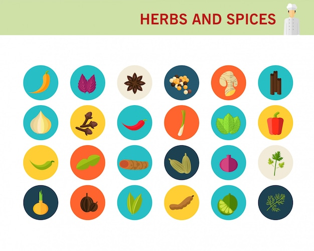 Ervas e especiarias ícones plana de conceito.