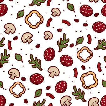 Ervas e especiarias, manjericão e folhas com cogumelos e colorau doce ou pimentão. saborosa mistura de vegetais e verdura, gastronomia. padrão sem emenda, plano de fundo ou impressão, vetor em estilo simples