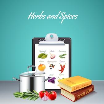 Ervas e especiarias realistas com livro de receitas