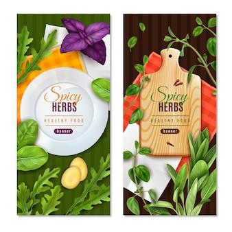 Ervas folhas verdes de salada especiarias 2 banners de comida saudável realista com espinafre tomilho manjericão