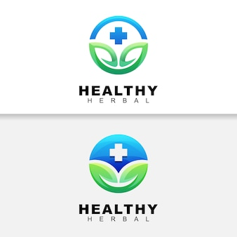 Ervas saudáveis de cor moderna com logotipo de folha, modelo de design de logotipo de ervas medicinais