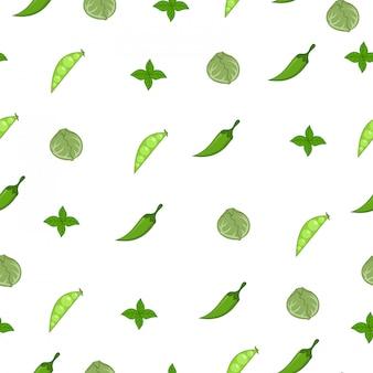 Ervilha, repolho, folha de hortelã, padrão sem emenda de mercado de verão chili