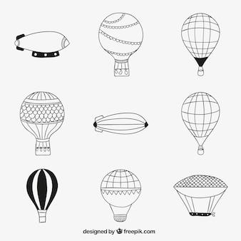 Esboçado balões de ar quente