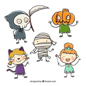 Esboçado crianças vestidas