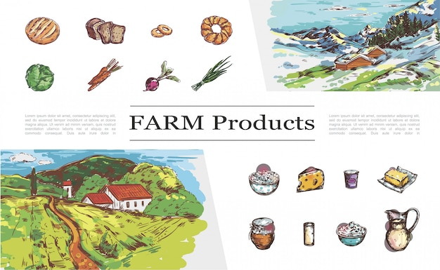 Esboçar a coleção de produtos agrícolas com pão legumes queijo leite iogurte manteiga creme de mel e paisagens da natureza com casas de campo