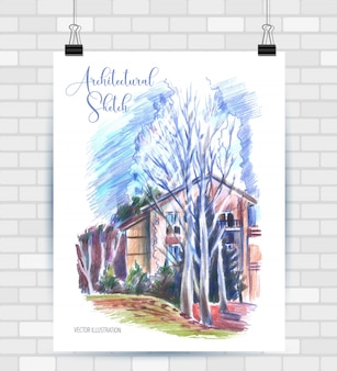 Esboçar a ilustração em formato vetorial. cartaz com bela paisagem e casa.