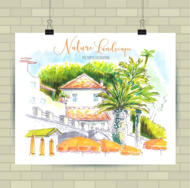 Esboçar a ilustração em formato vetorial. cartaz com bela paisagem.