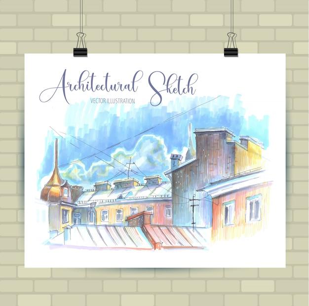 Esboçar a ilustração em formato vetorial. cartaz com belos elementos urbanos.